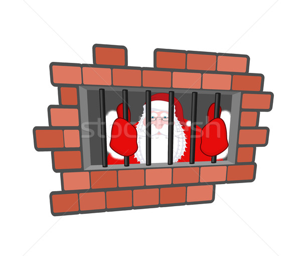 Santa Claus prisoner. Christmas in prison. Window in prison with Stock photo © MaryValery
