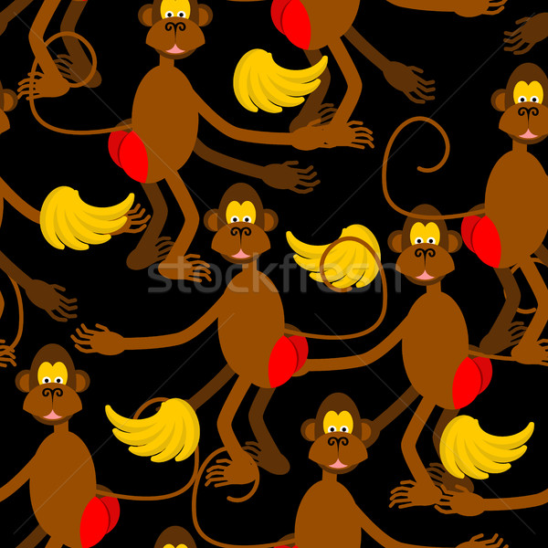 Hamadryad seamless pattern. monkey red butt and banana backgroun Stock photo © MaryValery