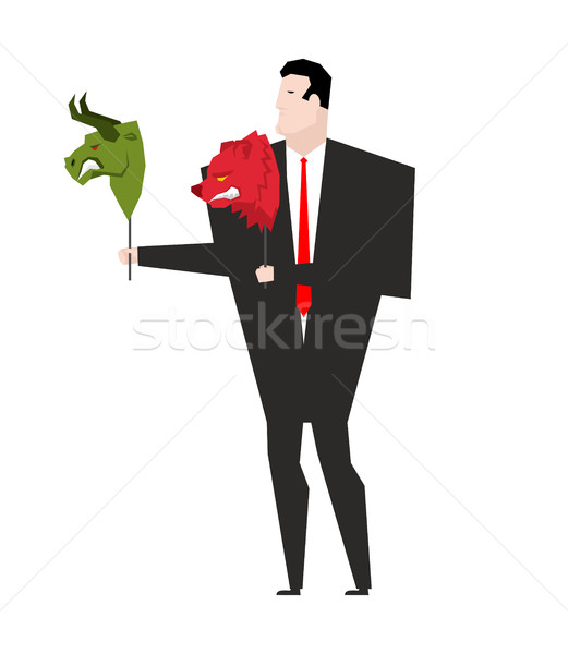 Trader and mask Green Bear and Red Bull. Player on stock exchang Stock photo © MaryValery