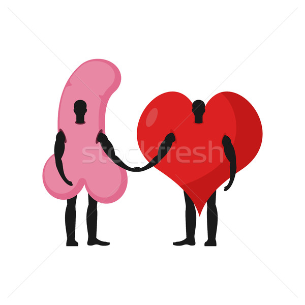 Penis and heart friends. Friendship love and sex Stock photo © MaryValery
