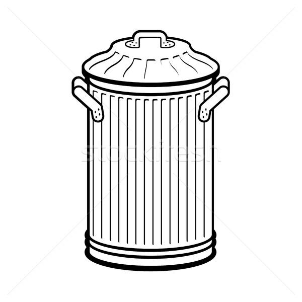 Cesto de lixo isolado branco ferro Foto stock © MaryValery