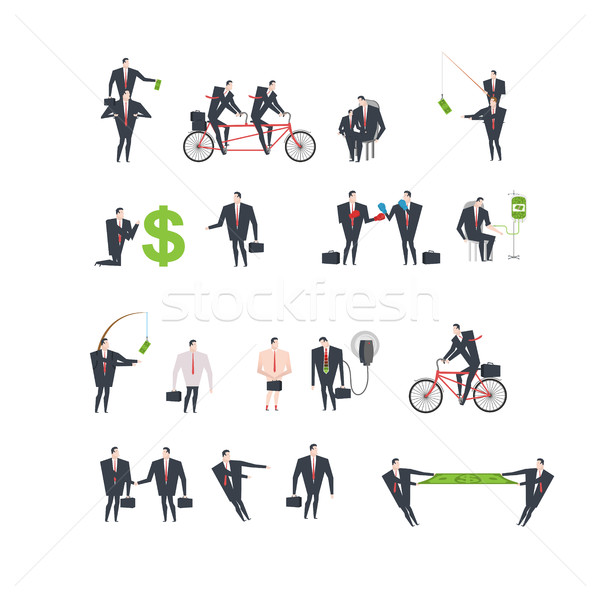 Office life set Corporate. Managers in workplace. Business situa Stock photo © MaryValery