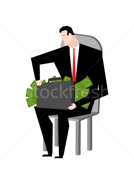 Businessman fondling money. Boss and bundle of dollars. Lot of c Stock photo © MaryValery