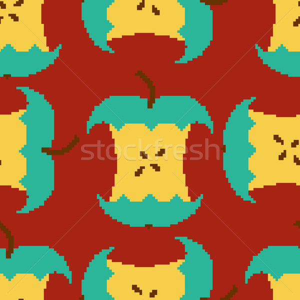 Apple core pixel art seamless pattern. pixelated Fruit backgroun Stock photo © MaryValery