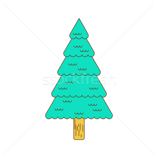 Christmas tree contour style. Fir line style. spruce  isolated Stock photo © MaryValery