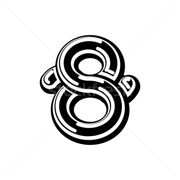 Number 8 Celtic font. norse medieval ornament ABC sign eight . T Stock photo © MaryValery
