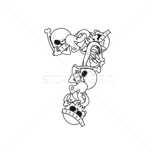 Number 7 skeleton. Bones Font seven. Anatomy of an alphabet symb Stock photo © MaryValery