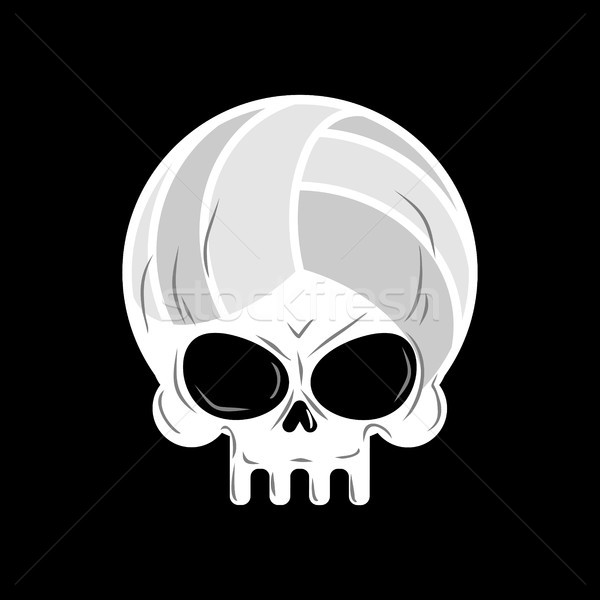Skull volleyball. Ball is head of skeleton. Emblem for sports fa Stock photo © MaryValery