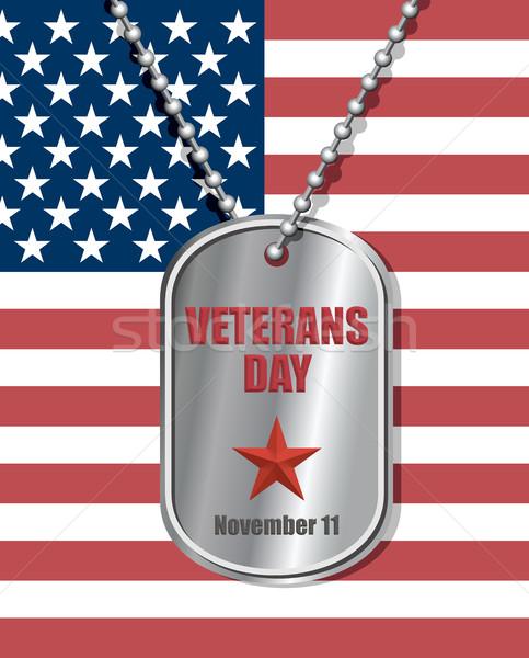 Katonák kitűző Egyesült Államok zászló nap gravírozott Stock fotó © MaryValery