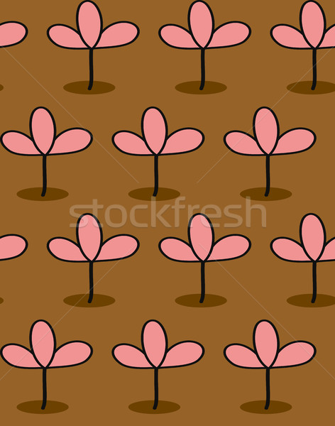 Pink plants on Brown background seamless patetrn. Vector backgro Stock photo © MaryValery