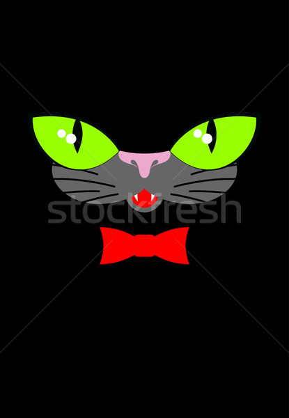 Green cat eyes and a red bow tie. Muzzle your pet on a black bac Stock photo © MaryValery