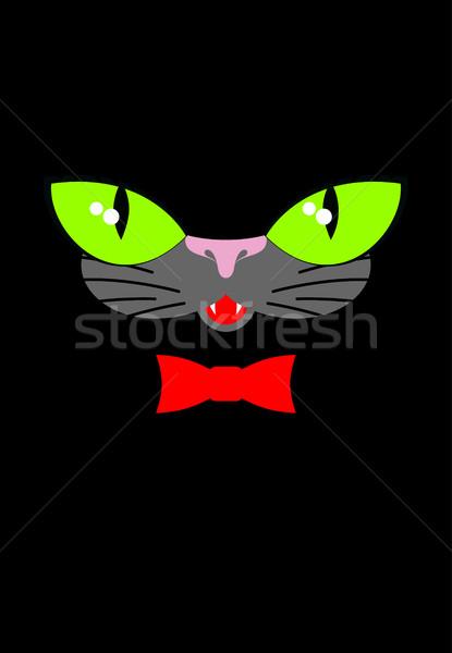 Zielone kot oczy czerwony muszka kaganiec Zdjęcia stock © MaryValery