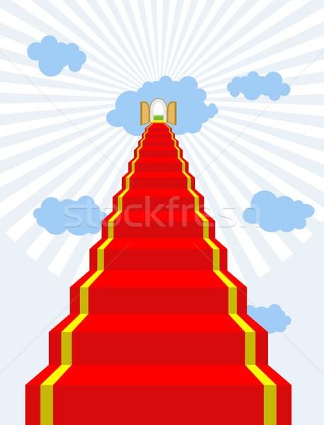 階段 楽園 レッドカーペット 空 ドア 雲 ストックフォト © MaryValery