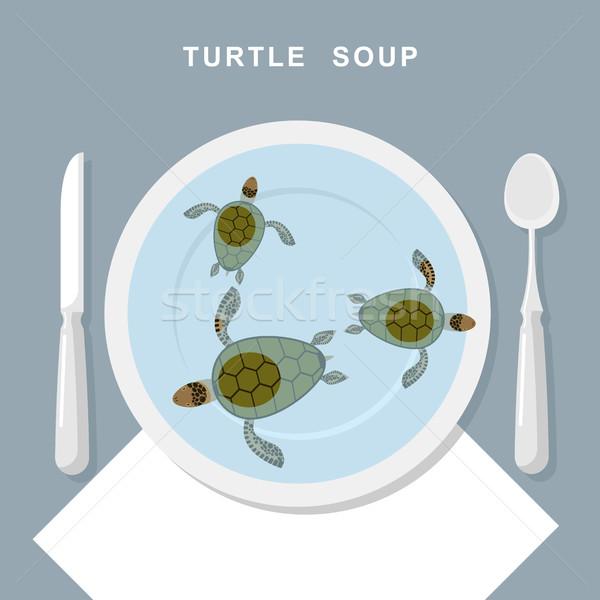 Turtle soup. Sea turtles swim in plate. Exotic popular Food top  Stock photo © MaryValery