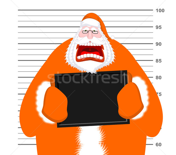 Mugshot of Santa Claus orange prisoner clothing. Mug shot of Chr Stock photo © MaryValery