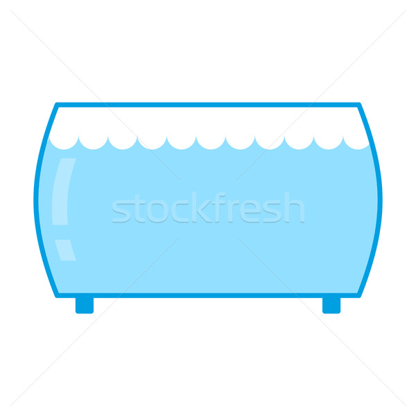 Aquarium empty isolated. Glass vessel with water to fish on whit Stock photo © MaryValery
