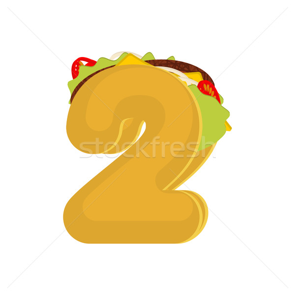 Number 2 tacos. Mexican fast food font two. Taco alphabet symbol Stock photo © MaryValery