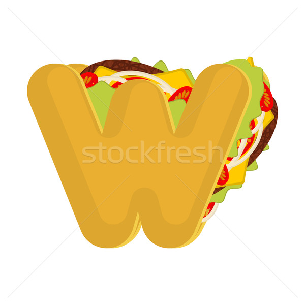 Letter W tacos. Mexican fast food font. Taco alphabet symbol. Me Stock photo © MaryValery