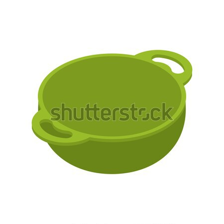 Stock photo: Kitchen green empty  bowls for food is isolated isometry. Cookin