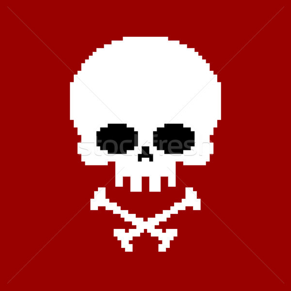 Skull pixel art. Head of skeleton pixelated isolated on white ba Stock photo © MaryValery