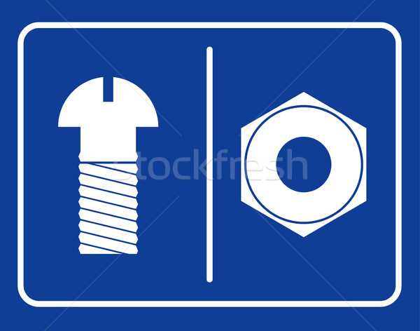 Bolt and nut restroom sign. Symbol public toilet. Sign male toil Stock photo © MaryValery