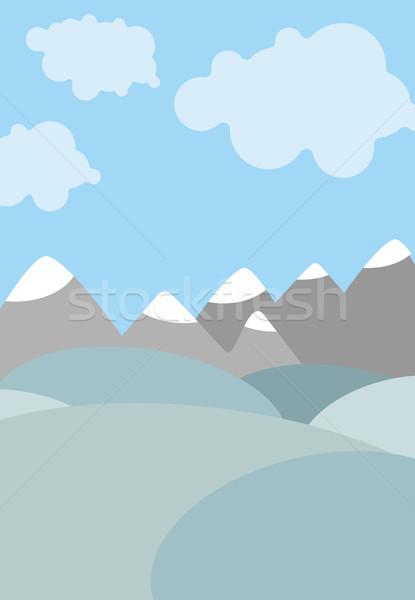 Foto stock: Desenho · animado · naturalismo · paisagem · céu · nuvens · montanhas