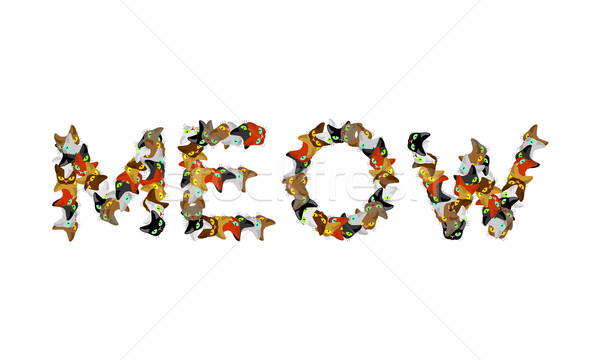 Meow sign text. Letters of cats. Pet font. home Animals typograp Stock photo © MaryValery