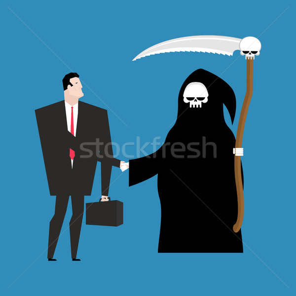 Contract with death. Grim Reaper and businessman shaking hands.  Stock photo © MaryValery
