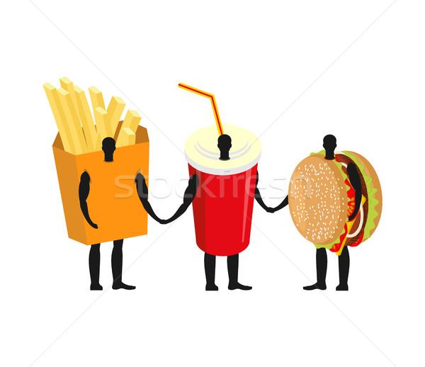 Gyorsételek barátok sültkrumpli hamburger ital piros Stock fotó © MaryValery
