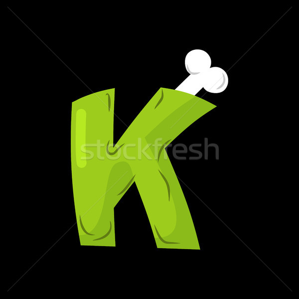 Letter K zombie font. Monster alphabet. Bones and brains letteri Stock photo © MaryValery