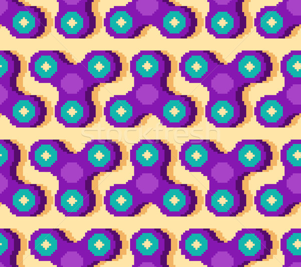Spinner pixel art pattern. Fidget finger toy pixelated. Anti str Stock photo © MaryValery