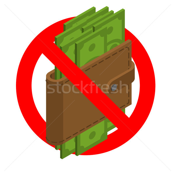 Forbidden cash. Ban money. Red prohibitory road sign and Wallet  Stock photo © MaryValery