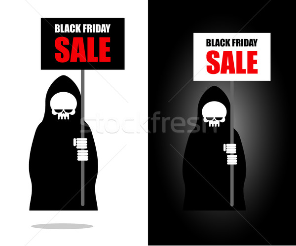 Dood banner black friday verkoop grimmig vel Stockfoto © MaryValery