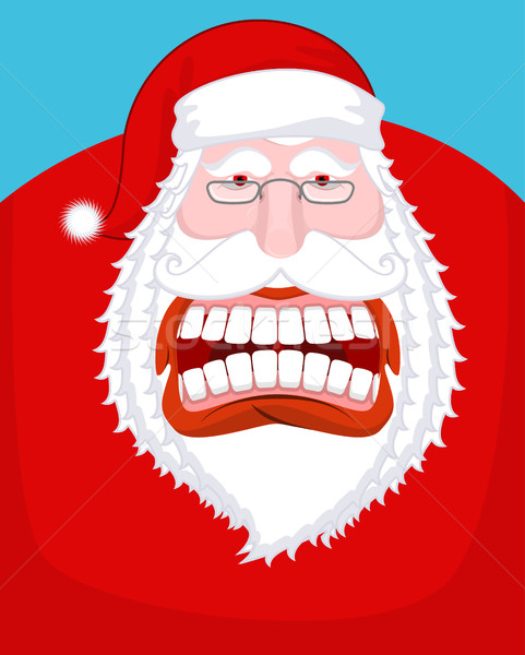 Santa Claus wild grin. Aggressive old man. Open your mouth and t Stock photo © MaryValery
