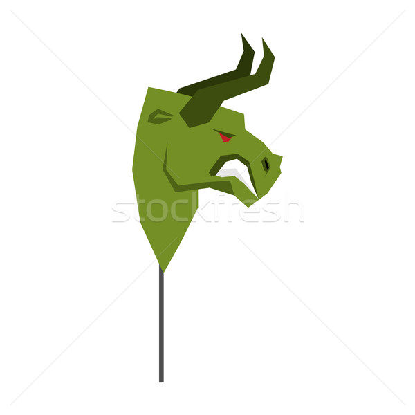 Green Bull Trader mask. guise Player on stock exchange Stock photo © MaryValery
