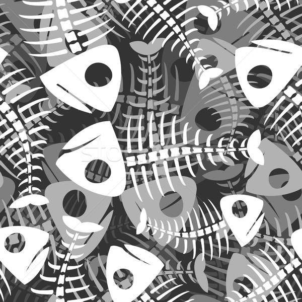 Fish bones seamless pattern. fishy Skeleton background Stock photo © MaryValery