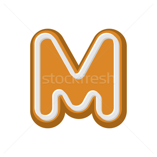 Letter M Gingerbread. Peppermint honey-cake font. Cookies alphab Stock photo © MaryValery