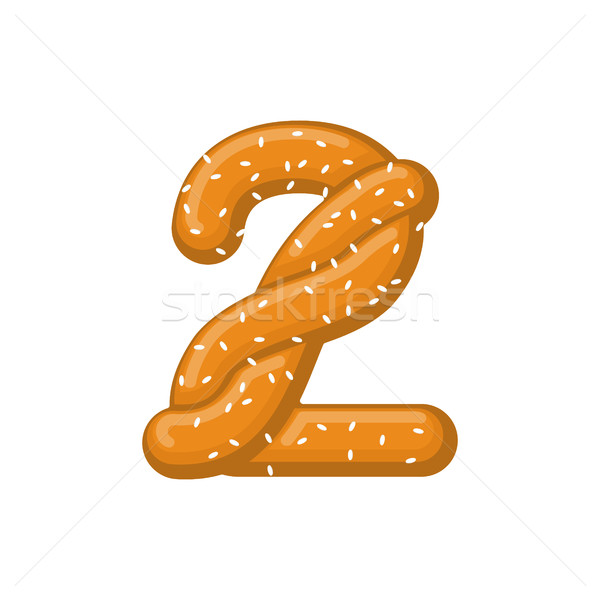 Number 2 pretzel. snack font two symbol. Food alphabet sign. Tra Stock photo © MaryValery