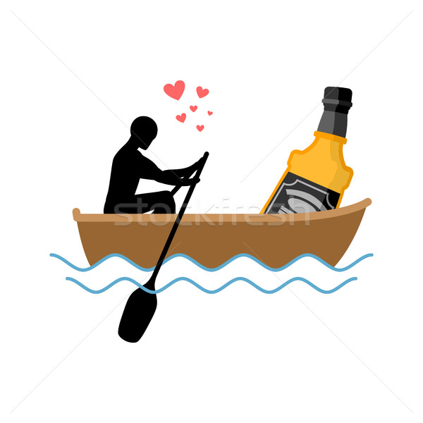 Lover alcohol drink. Man and bottle of whiskey boat ride. Lovers Stock photo © MaryValery
