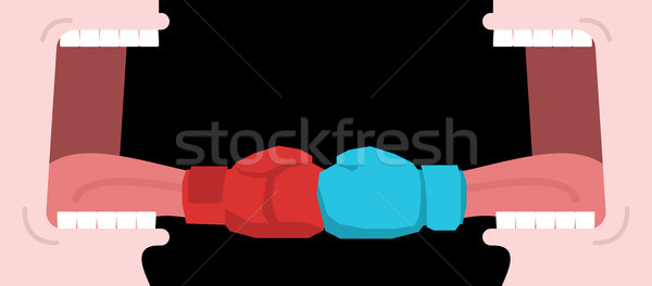 Dispute. Open mouth and tongue boxing glove. Protection in conve Stock photo © MaryValery