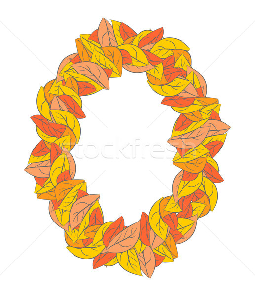 Autumn ellipse frame isolated. Yellow leaves background  Stock photo © MaryValery