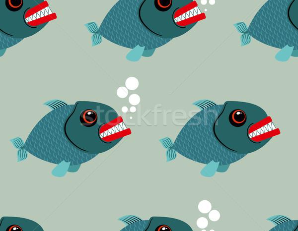 Piranha peixe vetor terrível Foto stock © MaryValery
