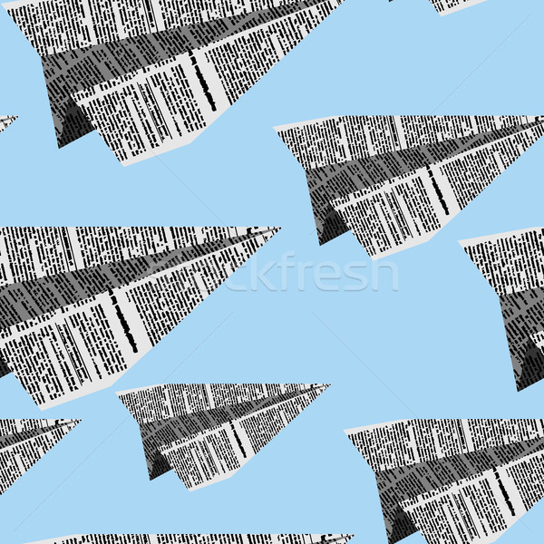Paper planes seamless pattern on a blue background. Vector ornam Stock photo © MaryValery