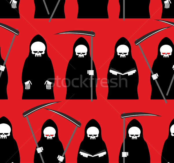 Death seamless pattern. Grim Reaper red background. Texture for  Stock photo © MaryValery