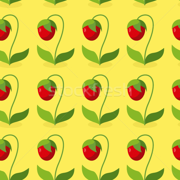 Ripe red strawberries with green leaves seamless pattern. Vector Stock photo © MaryValery