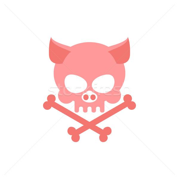 Disznó koponya csontok fej csontváz logo Stock fotó © MaryValery