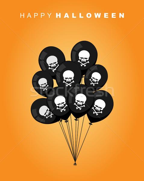Foto stock: Feliz · halloween · preto · balão · crânio · ossos