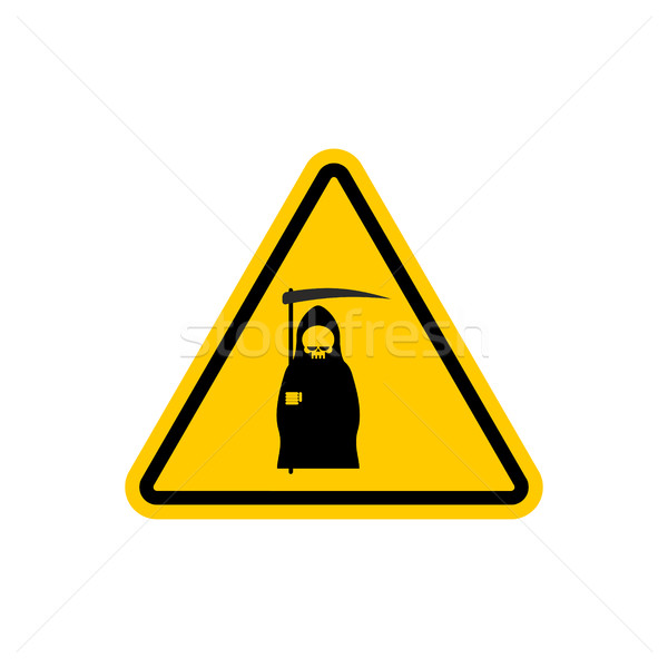 Attention death. Dangers of yellow road sign. Grim Reaper Cautio Stock photo © MaryValery
