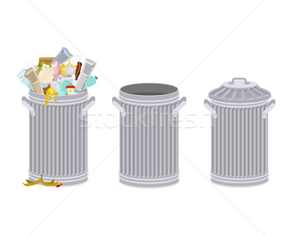 Stock photo: Trash can with Rubbish isolated. Wheelie bin with Garbage on whi