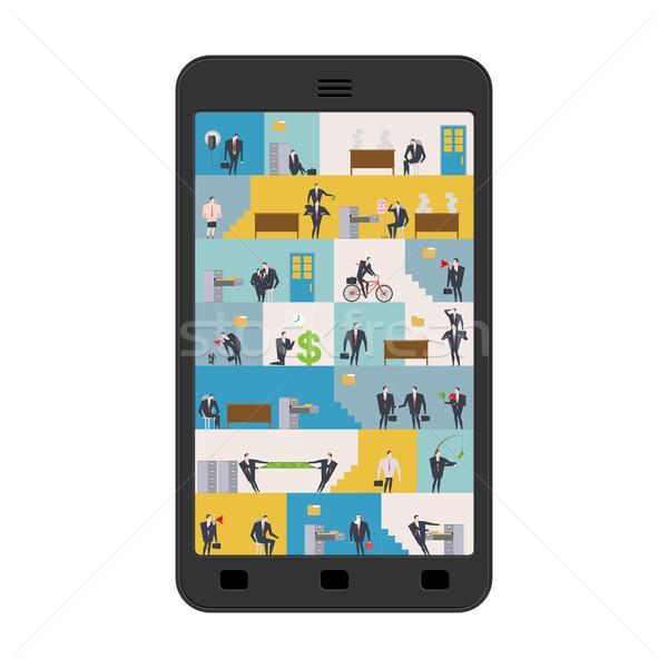 Iroda okostelefon munkahely telefon menedzserek munka Stock fotó © MaryValery